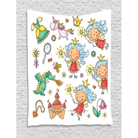 Fairy Tapestry, Cartoon Princess Pattern with Magic Wand Dragon Dress Unicorn and Crown Little Child, Wall Hanging for Bedroom Living Room Dorm Decor, 40W X 60L Inches, Multicolor, by Ambesonne
