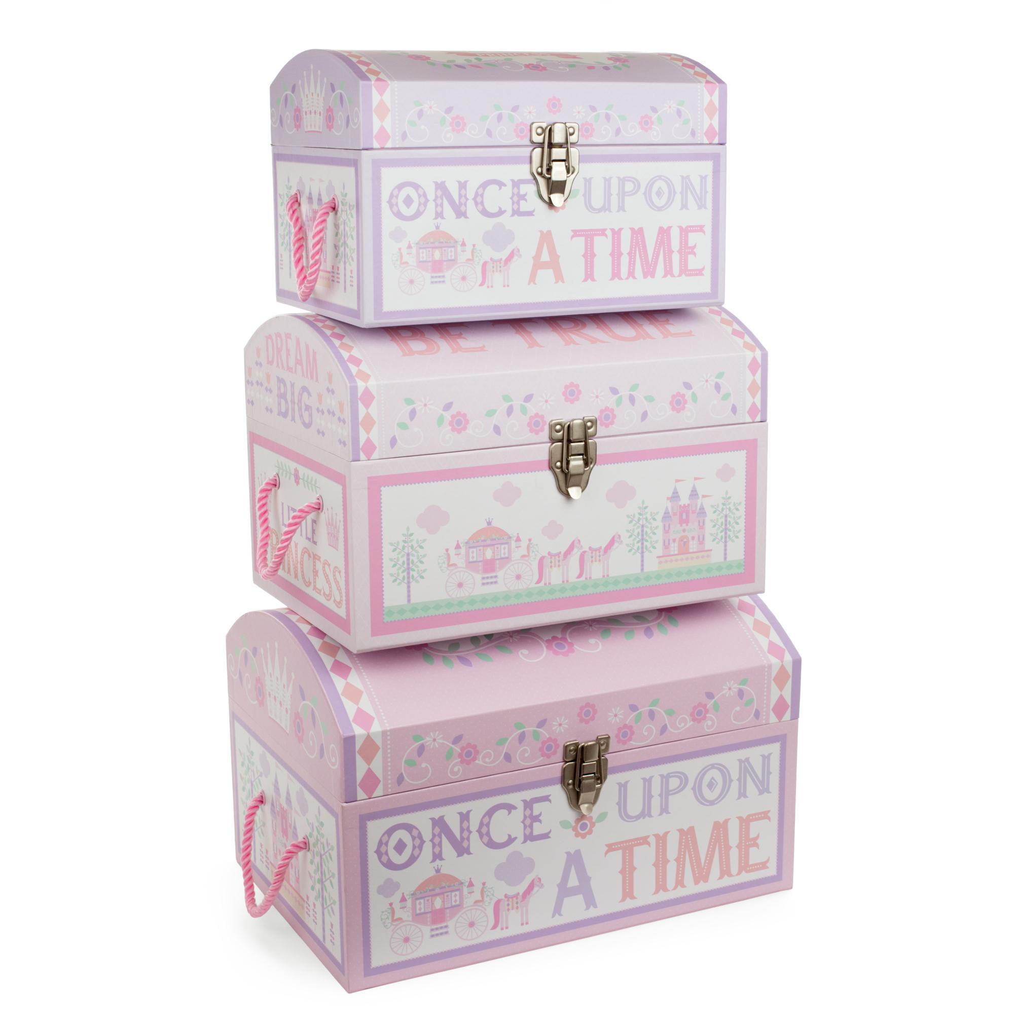 Tricoastal Design- Set Of 3 Nested Round Dome Storage Trunks Little Princess Print