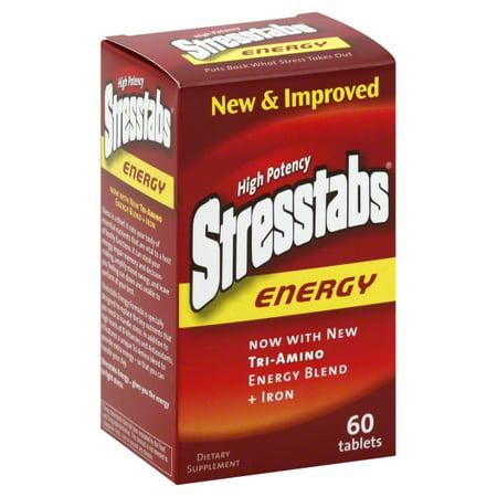 Stresstabs Energy Supplement, Tri Amino Energy Blend, 60 (Best All Natural Energy Supplement)