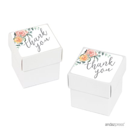 Peach Coral Floral Garden Party, Favor Box DIY Party Favors Kit, Thank You, 20-Pack