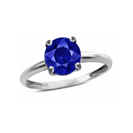 - Star K Created Sapphire Round 7mm Classic Solitaire Engagement Promise Ring
