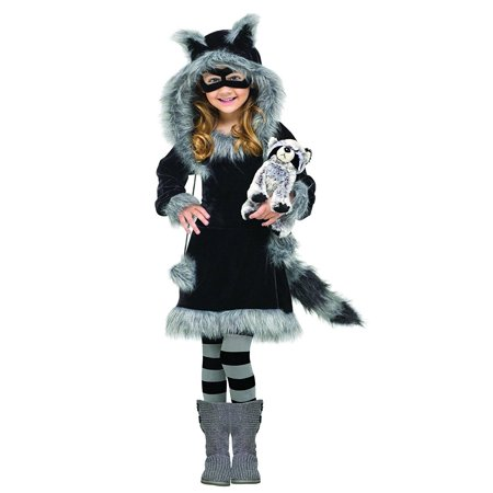 Costumes Baby Girl's Sweet Raccoon Toddler Costume, Black/Grey, Small (3T-4T), Includes: Dress, Plush Tail, Eye Mask, Striped Stockings, and Hood.., By Fun World (Halloween Cat Mask And Tail)