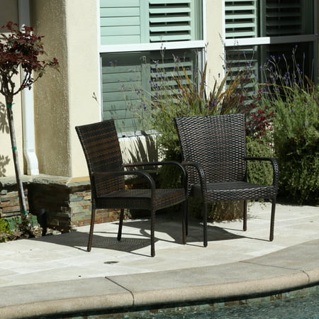 (Outdoor Wicker Brown Stackable Club Chairs (Set of 2))
