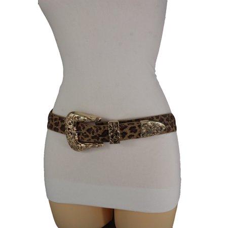 Women Gold Metal Buckle Hip Waist Western Fashion Belt Beige Leopard Elastic S M (Buckle Western Belt)