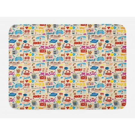 Music Bath Mat, Retro Pop Art Style Music Icons Casette Tapes Records Rock Headphones DJ Kids Image, Non-Slip Plush Mat Bathroom Kitchen Laundry Room Decor, 29.5 X 17.5 Inches, Multicolor, Ambesonne (Slip Mat Record)