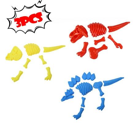 Large Dinosaur Sand Molds Dinosaur Fossil Skeleton Beach Toy Set (3 packs) Large Sand Molds
