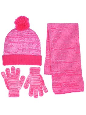 Girls Knit Beanie Scarf & Gloves Set Full Wrap Cuff & Top Pom 4 Colors