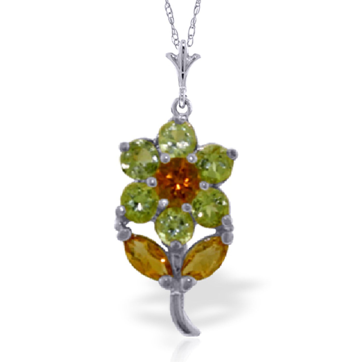 ALARRI 1.06 Carat 14K Solid White Gold Flower Necklace Peridot Citrine with 18 Inch Chain Length