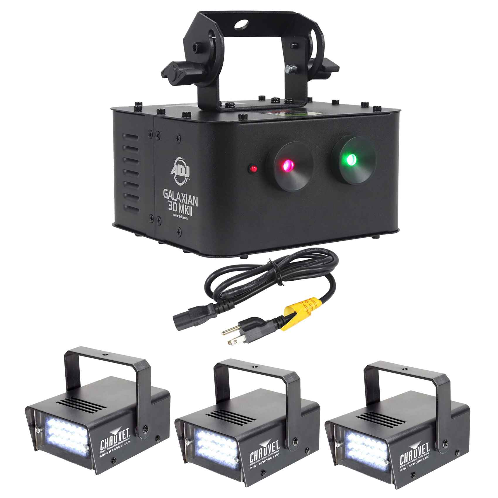 American DJ GALAXIAN 3D MKII Dual Red Green Laser Effect Light+(3) Strobe Lights by American DJ
