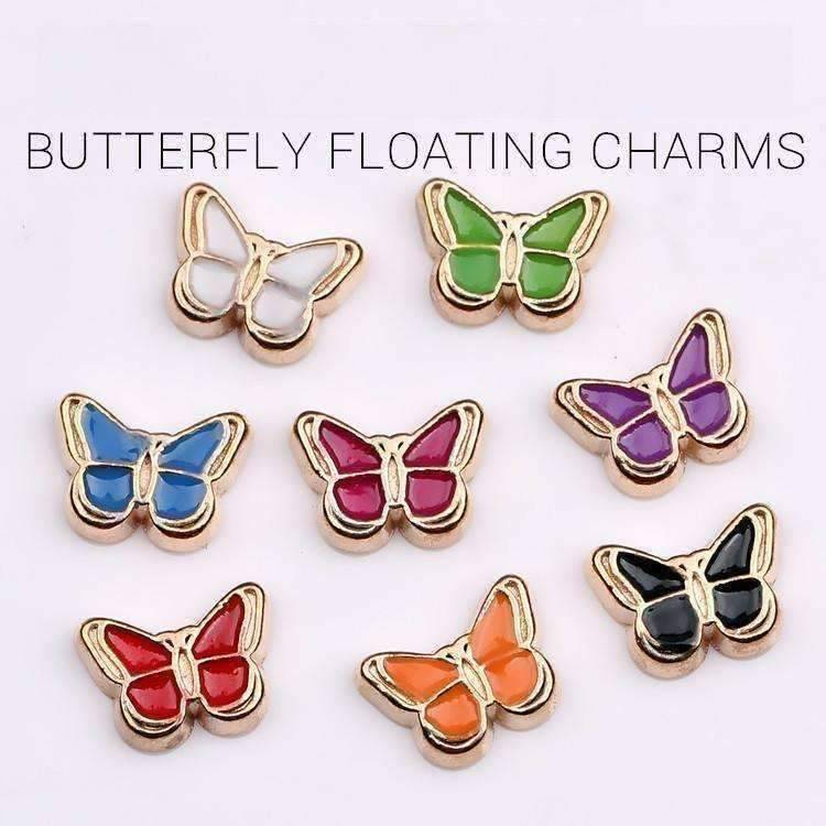 Colorful Enamel Butterfly Free Floating Charm for Charm Locket Necklaces ~ Choose Your Color Blue