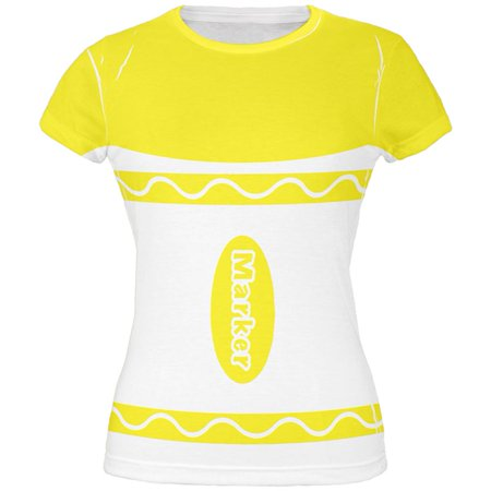 Halloween Marker Costume Yellow All Over Juniors T Shirt