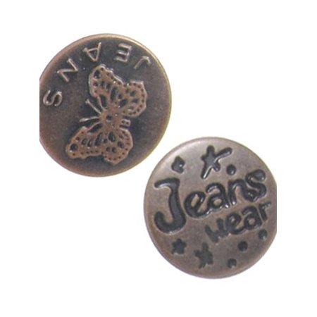 - Repair Part Metal Carved Leaf Words Jeans Buttons 10 Pcs