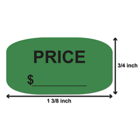 Oval Price Tag Sticker (1-3/8 x 3/4, 300 Stickers per Roll, Green) for Retail & Yard Sales