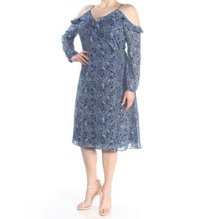 MICHAEL KORS Womens Blue Cold Shoulder Paisley Cold Shoulder Long Sleeve V Neck Knee Length Wrap Dress Dress  Size: (Blue Michael)