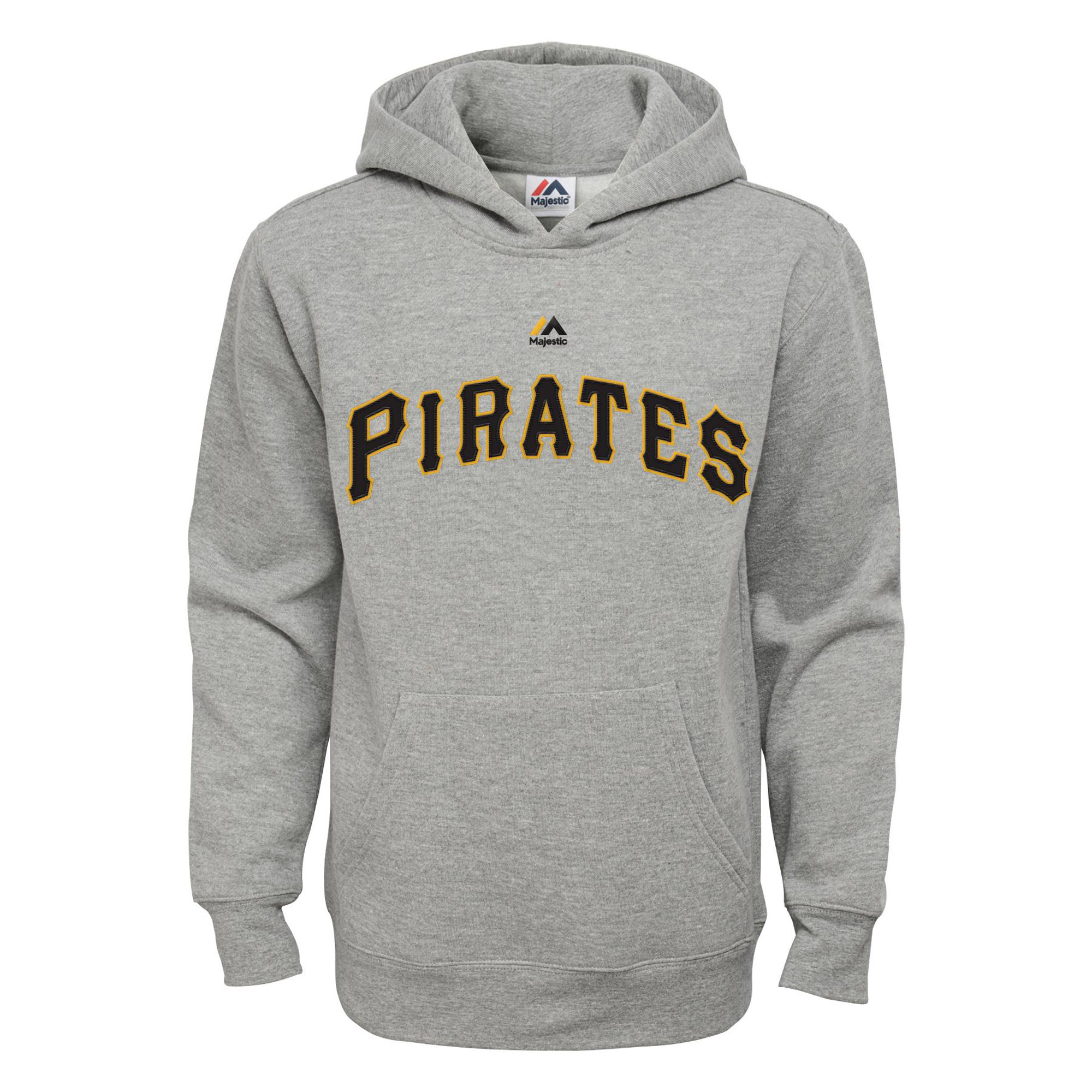 Pittsburgh Pirates Majestic Youth Wordmark Pullover Hoodie - Heather Gray