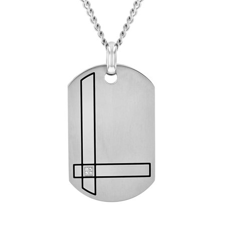 Men's Stainless Steel Diamond Accent Dog Tag Pendant