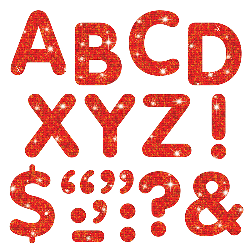 STICK-EZE 2 LETTERS MARKS RED SPARKLE 68 UPPERCASE 39 MARKS