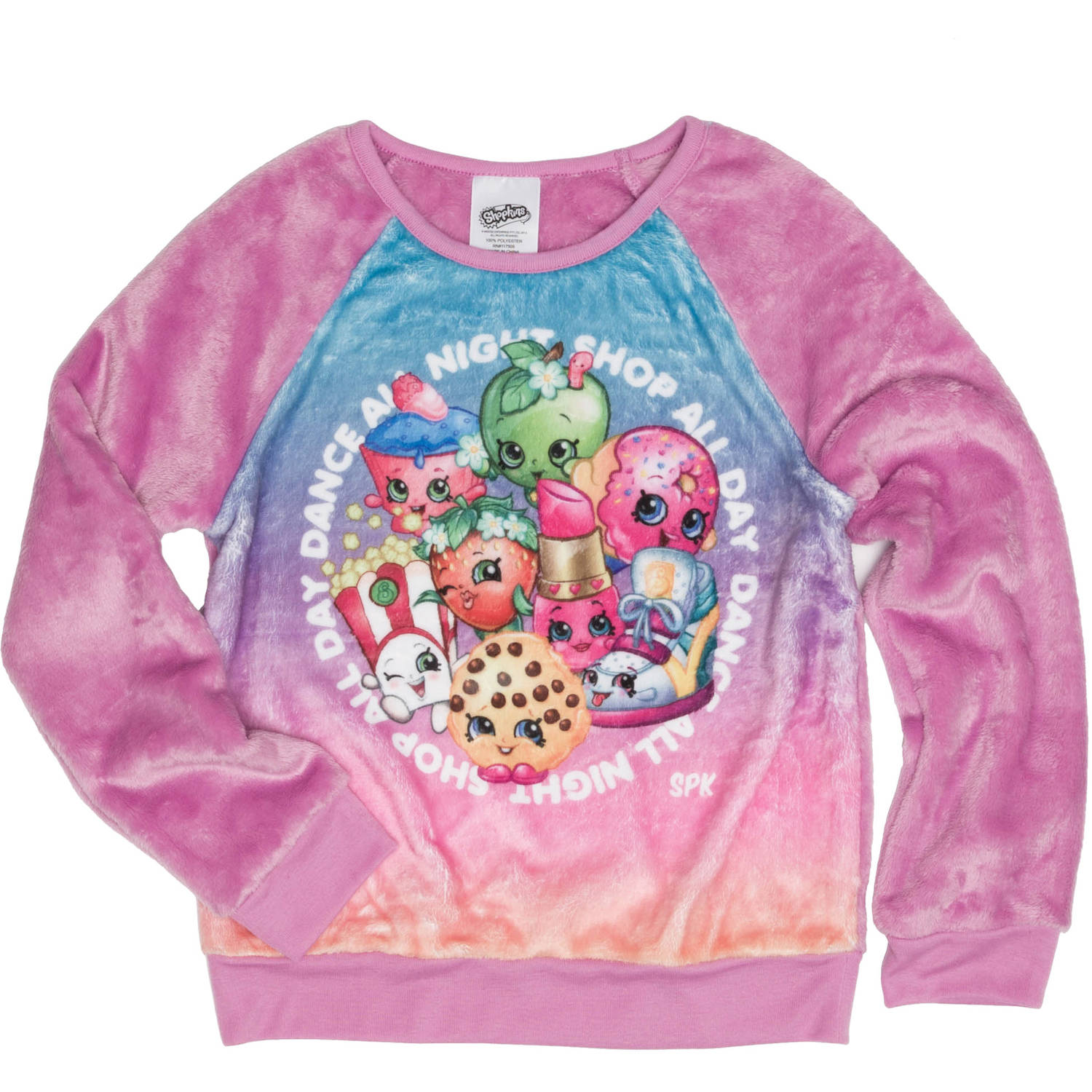 Shopkins Girls' All Day All Night Long Sleeve Crew Neck Sweatshirt
