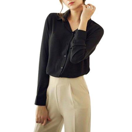 416adbd2 Babula - Babula Women Button Down Long Sleeve Chiffon Blouse Tops ...