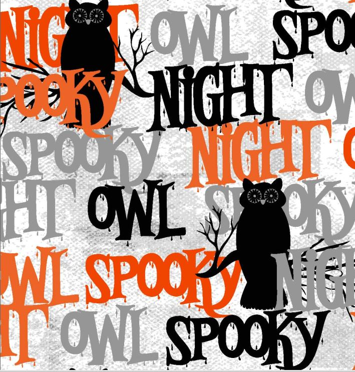 FABRIC EDITIONS, COTTON FABRIC, FAT QUARTER, 18X21, HALLOWEEN OWLS