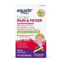 Equate Infants' Pain & Fever, Acetaminophen 160 mg per 5 mL, Suspension Liquid, Grape Flavor,1 Oz