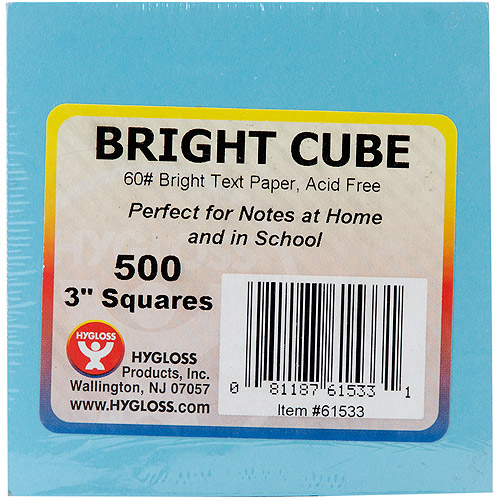 "Hygloss Mighty Bright Cube Paper Pad 3"" x 3"" 500 SHeets pkg-50 SHeets Each Of 10 Assorted Colors by Imaginisce"