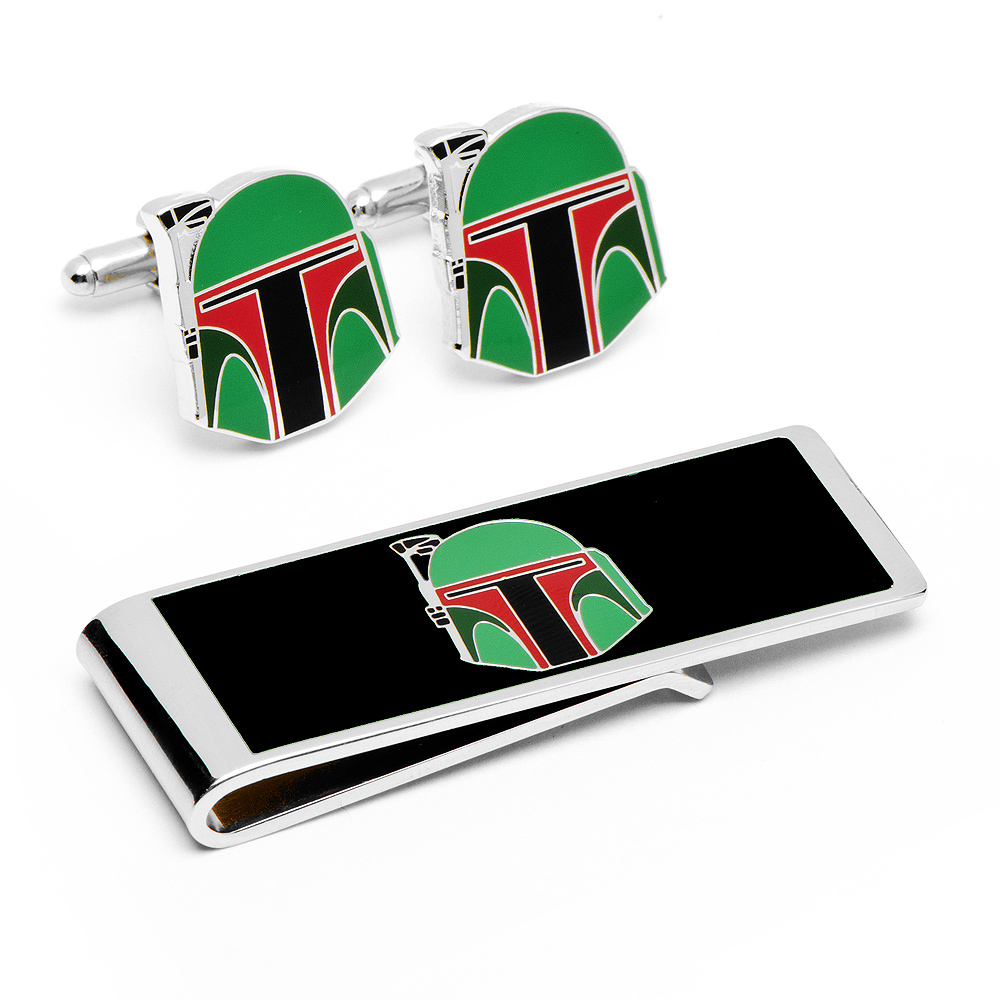 Boba Fett Helmet Cufflinks and Money Clip Gift Set