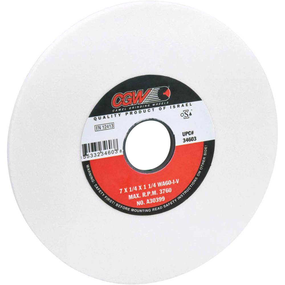 "Camel Grinding Wheels G7432 7"" X 1/4"" Grind Wheel, Friable, Type 1 WA60 1-1/4"" Bore"