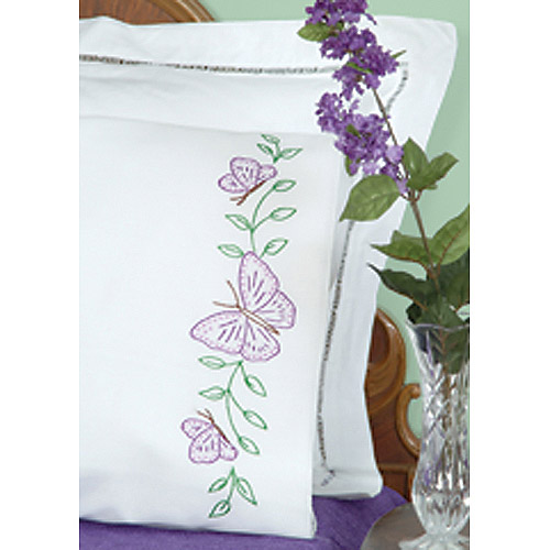 Jack Dempsey Circle Of Butterflies Stamped Pillowcases With White Perle Edge
