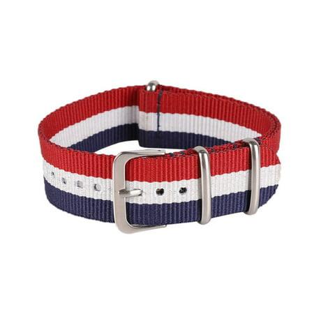 Mens Women Casual Stripe Nylon Canvas Wrist Watch Strap Replacement Watch Band 18-22mm