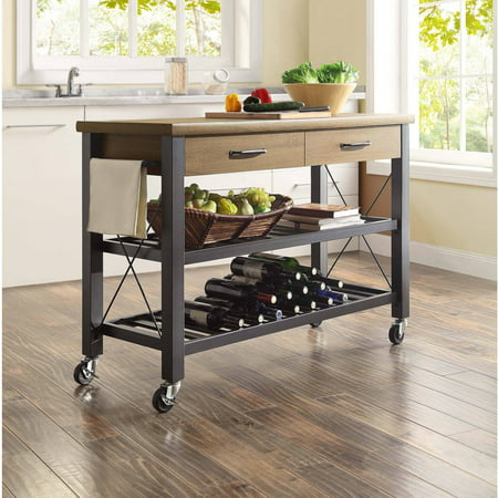 Granite Kitchen Island Cart (Whalen Santa Fe Kitchen Cart with Metal Shelves and TV Stand Feature)