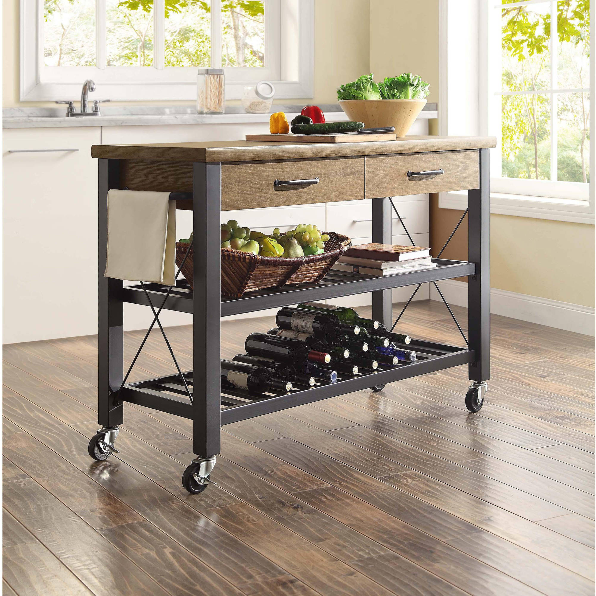 Kitchen Shelves Walmart: Whalen Santa Fe Kitchen Cart With Metal Shelves And TV