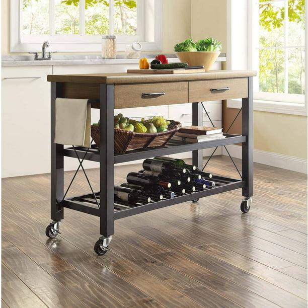 Whalen Santa Fe Kitchen Cart With Metal Shelves And Tv Stand Feature Walmart Com Walmart Com