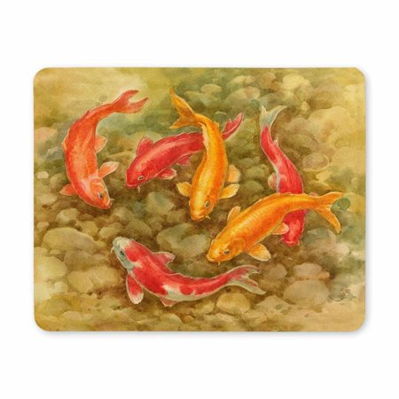 POP Watercolor Painting, Golden and Red Fishes in The Pond Printed Mousepad Non Slip Rubber Gaming Mouse Pad 9x10 inch - image 2 of 2