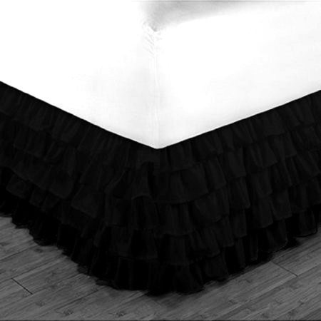 "Gypsy Queen Black Ruffled Bed Skirt  Wrap Around Layered Solid Bed Dust Ruffle 20"" Inch Drop"