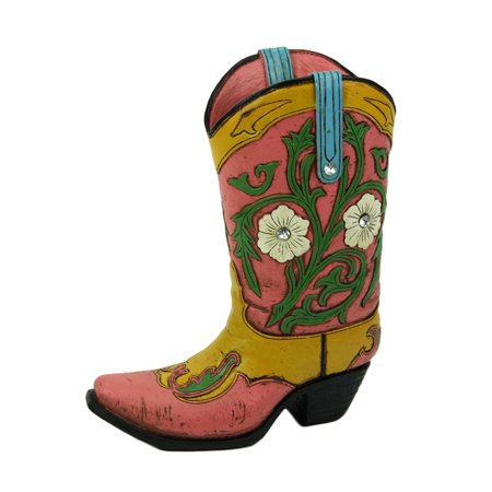 Jewel Accented Distressed Pink Cowboy Boot Flower Vase - image 2 de 3