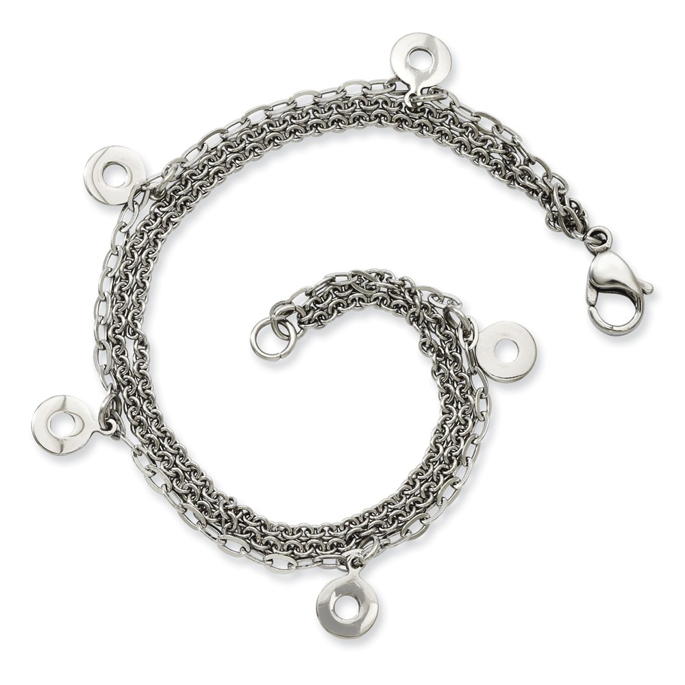IceCarats Stainless Steel Multiple Row Discs 7.25in Bracelet 7.25 Inch Chain Multi-str Fashion Jewelry Ideal Mothers Day Gifts For Mom Women Gift Set From Heart