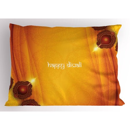 Diwali Pillow Sham Curtain Like Tribal Inspired Backdrop with Wooden Oriental Style Carving Framework Print, Decorative Standard Queen Size Printed Pillowcase, 30 X 20 Inches, Yellow, by Ambesonne ()