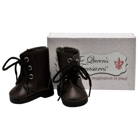 Vintage Doll Shoes (18 Inch Doll Clothes Accessory, Brown Lace Up Vintage Style Boots Plus Shoe Box )