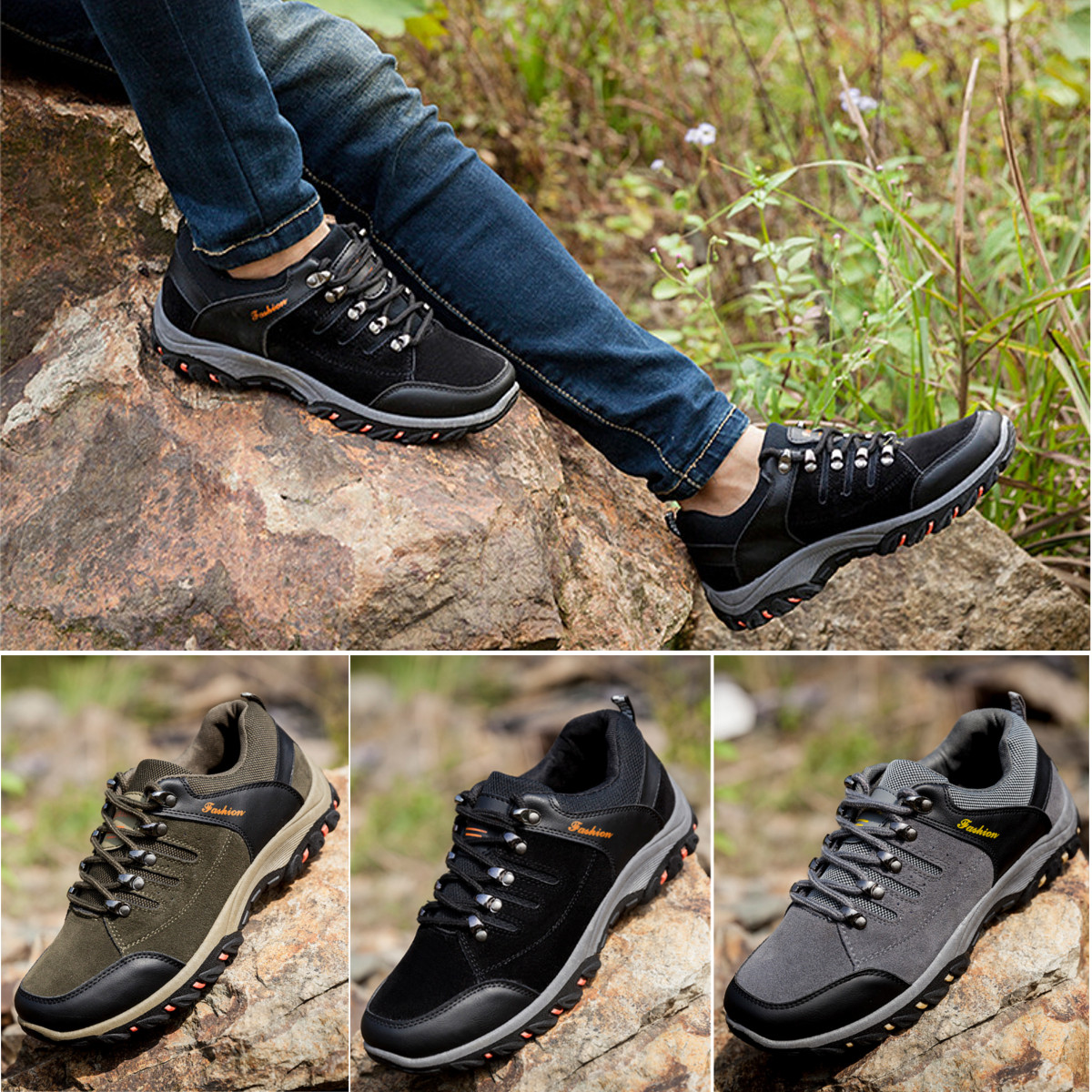 Mens Safety Shoes Fashion Summer Breathable Outdoor Work Boots Hiking Climbing