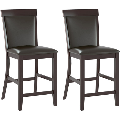 CorLiving Bistro Dining Chairs, Chocolate Black Bonded Leather, Set of 2