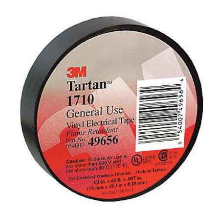3M 1710 Tartan, 3/4 in x 60 ft Electrical Tape, 3/4 x 60 ft, 7 mil, PK 100