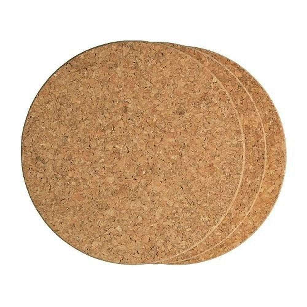 "Fox Run 7"" Heat Resistant Round Brown Cork Kitchen Baking Trivets Set Of 3, 4440"