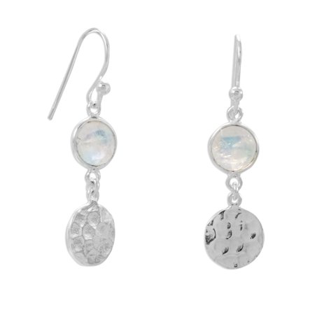 Rainbow Moonstone Earrings with Hammered Disk Drop Polished Sterling Silver