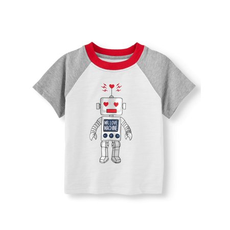 Valentine's Day Short Sleeve Raglan Graphic T-shirt (Toddler Boys) - Valentine Diys