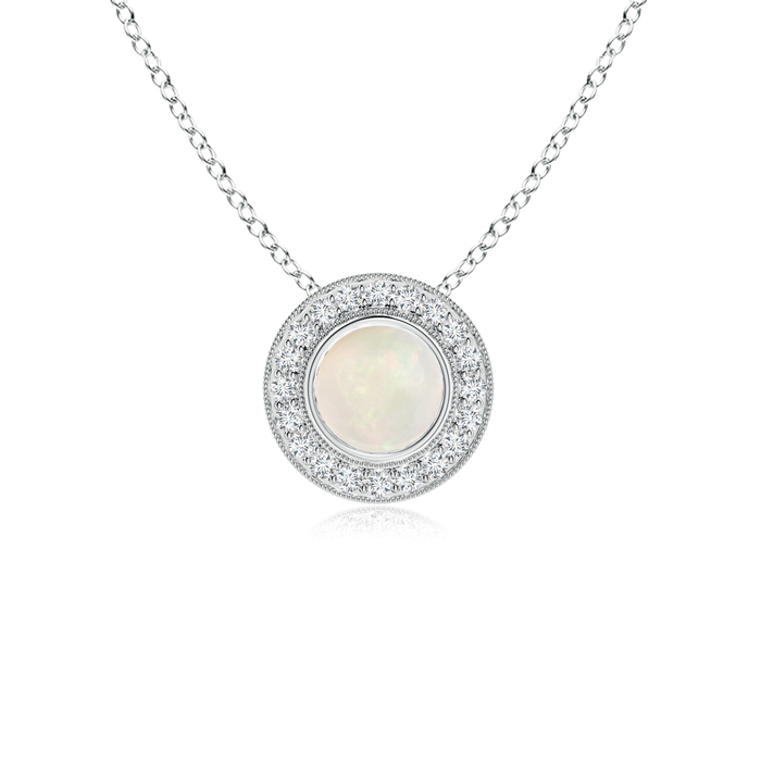 Mother's Day Jewelry Necklace Opal Pendant Necklace with Diamond Halo in 950 Platinum (6mm Opal) SP0727OPD-PT-A-6 by Angara.com