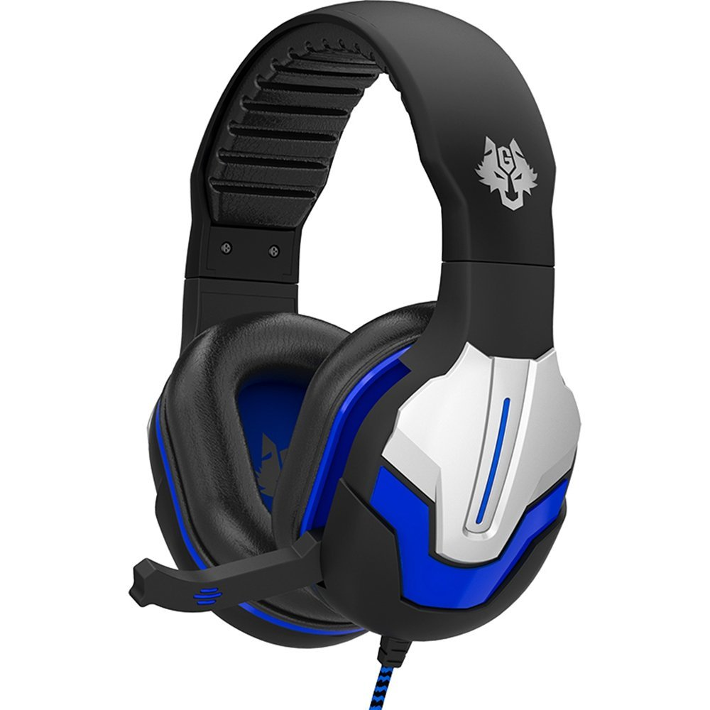 Gaming Headset, GranVela BINGLE Virtual 7.1 Surround Sound USB Headset, Over Ear Noise Isolating PC Headphones with Microphone, Volume Control (Black-Blue)
