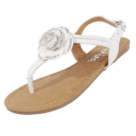 Lesly-22 Girls Sandals Gladiator Flip Flops Open toe Shoes Flats Beach Shoes White 10 - Girls Ipanema Flip Flops