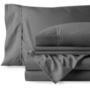 Bare Home 6 Piece 1800 Collection Deep Pocket Bed Sheet Set - Ultra-Soft Hypoallergenic - 2 EXTRA PILLOW CASES (Queen, Gray)