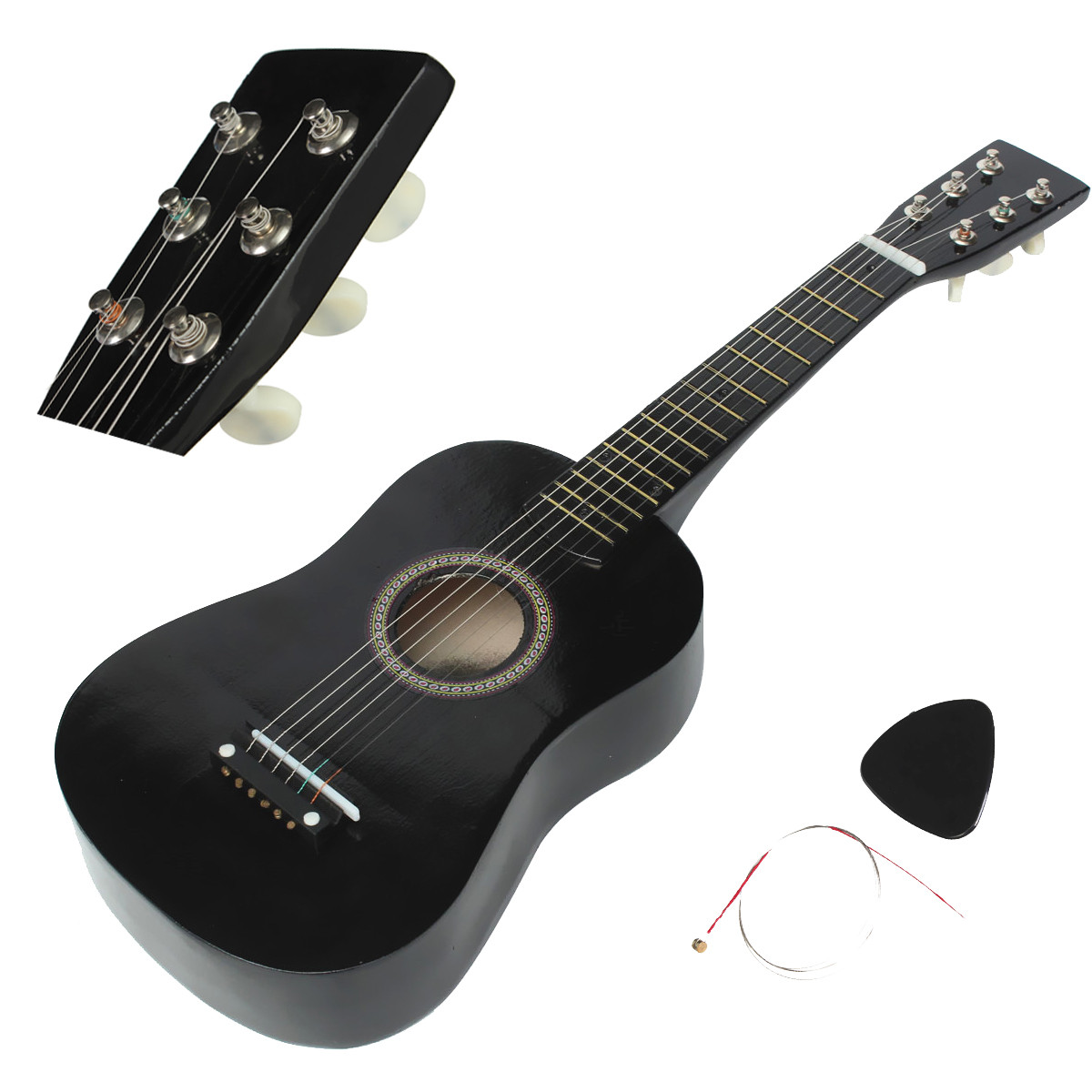 6 Strings Beginners Basswood Acoustic Guitar + Guitar Pick + Wire Strings Kids Children Students Christmas Birthday Gift